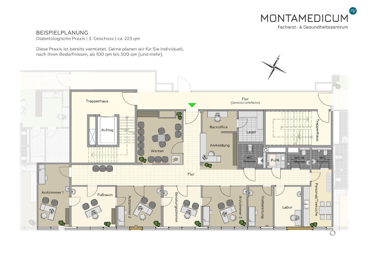 Praxisfläche mieten in Montabaur nahe Koblenz | Beispielplanung einer Praxis - Das Montamedicum